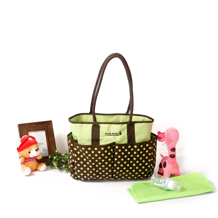 Dotted Print Hand Mommy Bag Large Capacity-Style Diaper Bag Multi-functional Shoulder Mummy Bag