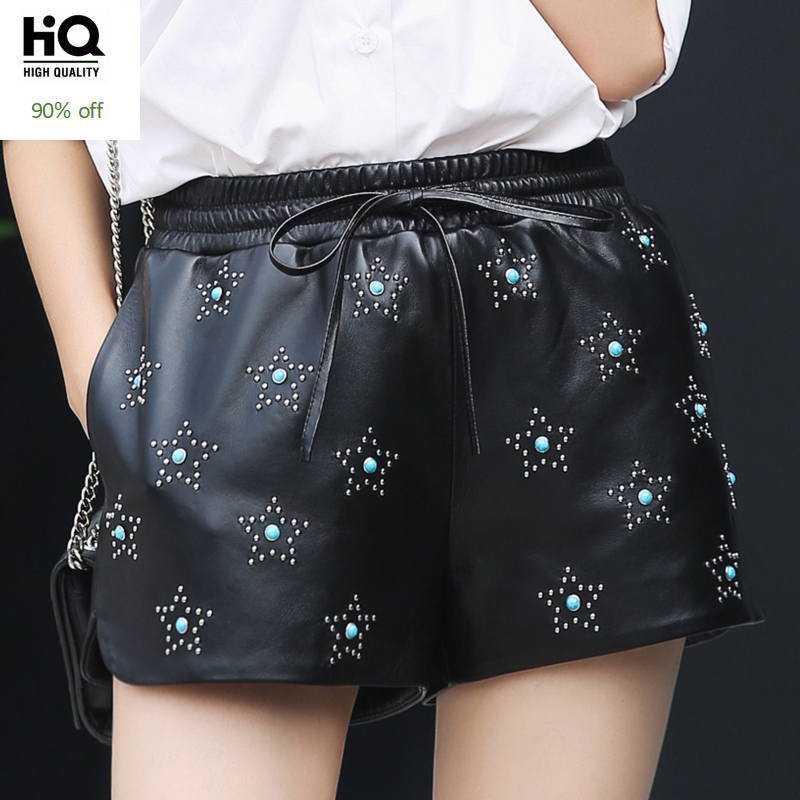 Summer Fashion Female Real Leanther Trousers Casual Print Stars Streetwear Skinny Elastic Mid Waist OL Sheepskin Shorts Woman