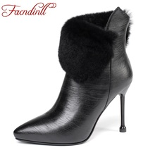 FACNDINLL high quality leather winter boots womens ankle pointed toe black sexy heels short real fur autumn