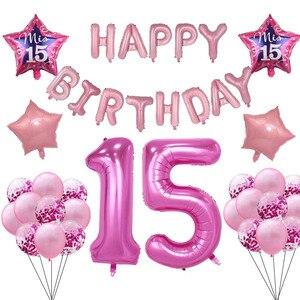 Испанский МИС айва воздушный шар my Fifteen15th лет День рождения воздушные шары украшение номер 15 девушка розовый с днем рождения баллон