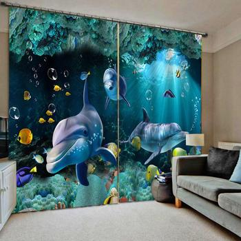 Blackout 3D Window Curtains For Living Room Bedroom Dolphin Sea World photo print blackout 3D curtains