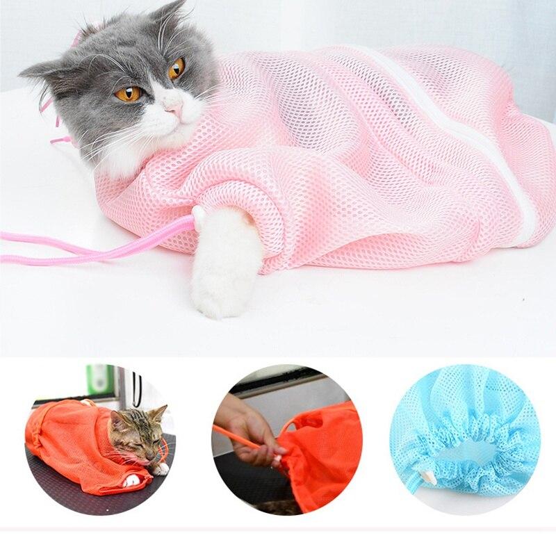 Сетчатая Сумка для ухода за кошкой, сумка для ванны, ограничитель, для кошек, собак, для укуса, регулируемые моющие сумки для домашних животн... - 3