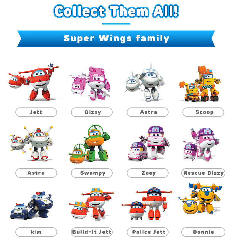 Super Wings Transforming 5 inch Airplane Robots 3
