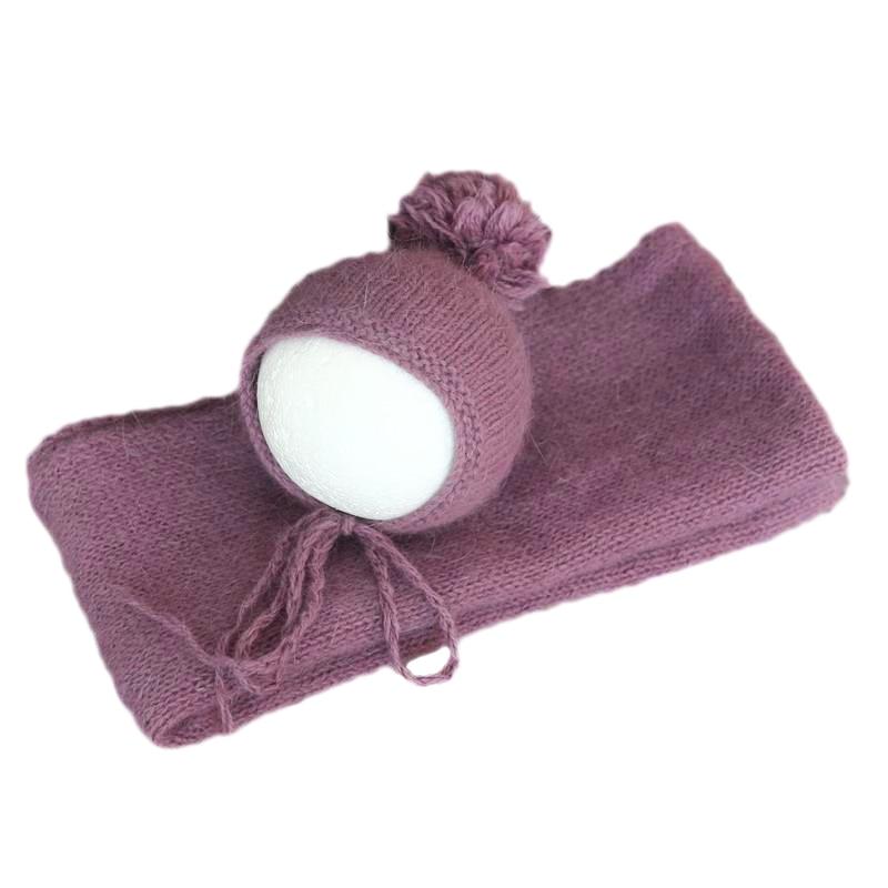 Grey color Vintage Newborn Sweater knit wrap and bonnet set Photography props Crochet mohair silk hat Stretch jersey wrap