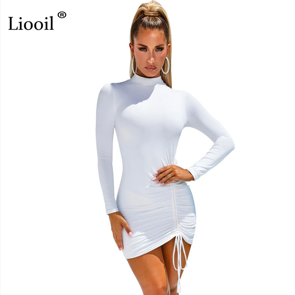 Liooil Sexy Ruched Bodycon Mini Dress Women Clothes Fall 2020 Long Sleeve O Neck Lace Up Draped Tight Dresses Woman Party Night