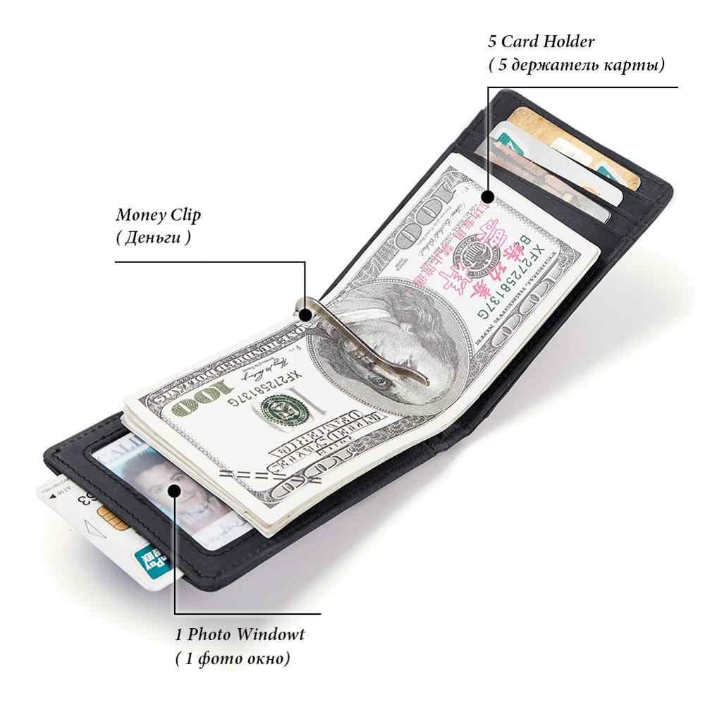 RFID männer Echte Leder Geld Clips Mode Hohe Qualität Männer Bifold Geldbörsen Mini Männlichen Geldbörse Geld Clip Clamp Für geld