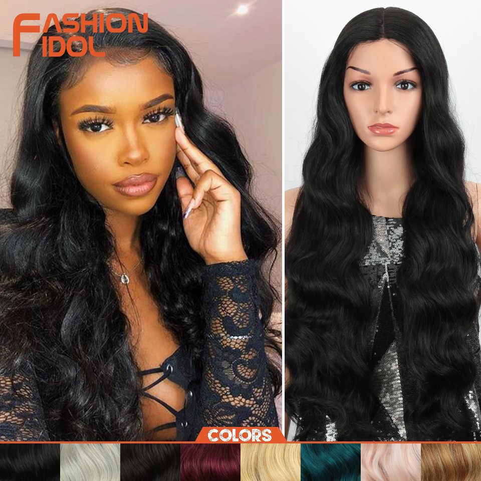 Mode Idol 28 Inch Diepe Golf Lace Front Synthetische Pruiken Voor Zwarte Vrouwen Natuurlijke Lang Golvend Afro-amerikaanse 8 Kleuren cosplay Pruik
