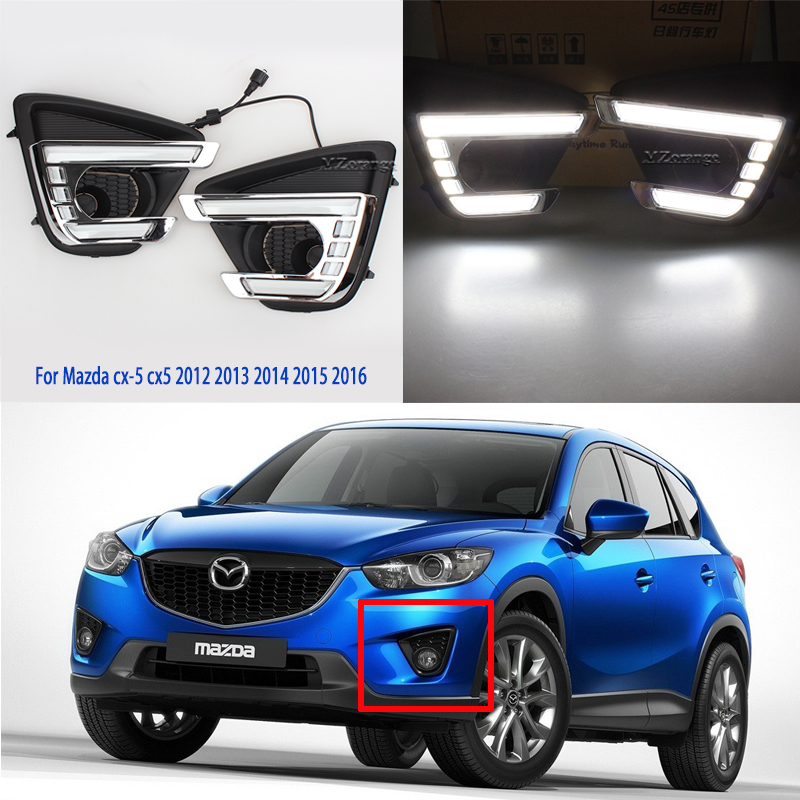 2pcs Daytime Running <font><b>Lights</b></font> LED DRL Yellow Turn Signal Lamp For <font><b>Mazda</b></font> CX-5 <font><b>CX5</b></font> CX 5 2012 2013 2014 2015 2016 <font><b>fog</b></font> lamp <font><b>cover</b></font> image