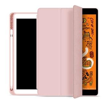 新 2019 のための Ipad 10.2 のための Ipad ミニ 5 タブレットカバー鉛筆ホルダー Funda スリム TPU シリコーンソフトシェルモーニングコール