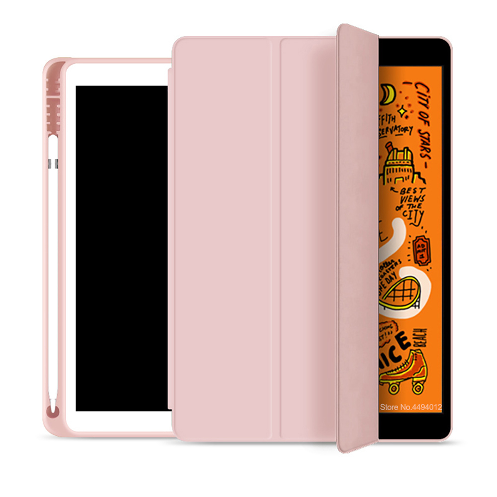 New 2019 For Ipad 10.2 Case For IPad Mini 5 Tablet Cover Pencil Holder Funda Slim TPU Silicone Soft Shell Smart Sleep Wake Up