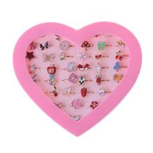 36pcs Children Kids Little Girl Gift, Jewelry Adjustable Rings in Box, Girl Pretend Play and Dress up Rings,Random Shape and Col(China)