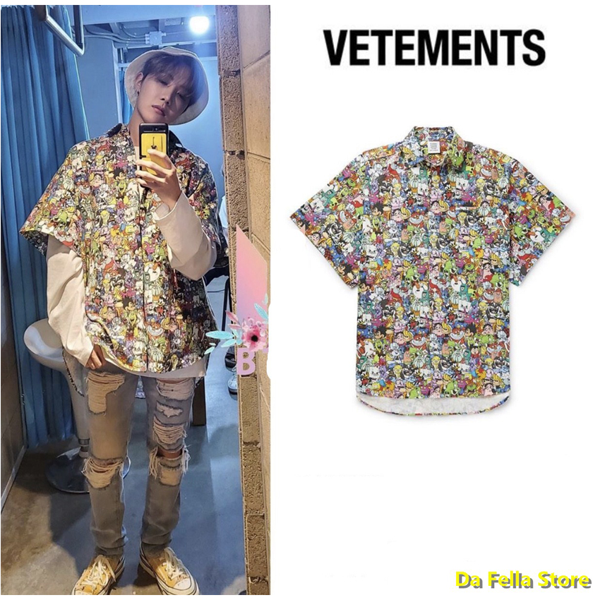 VETEMENTS Shirts Full Anime Cartoon Printing Vetements Shirt 2020 Men Women Oversize Pocket Embroidery Logo VTM Blouse