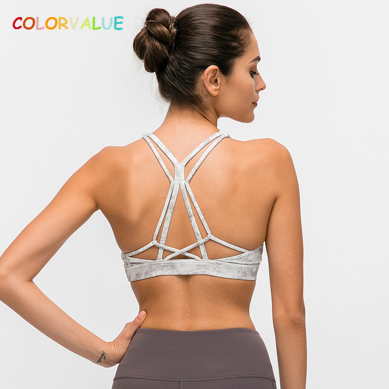 Colorvalue Beautiful Strappy Workout Sports Bras Tops Women Naked-feel Wireless Yoga Fitness Bras Padded Push Up Athletic Tops