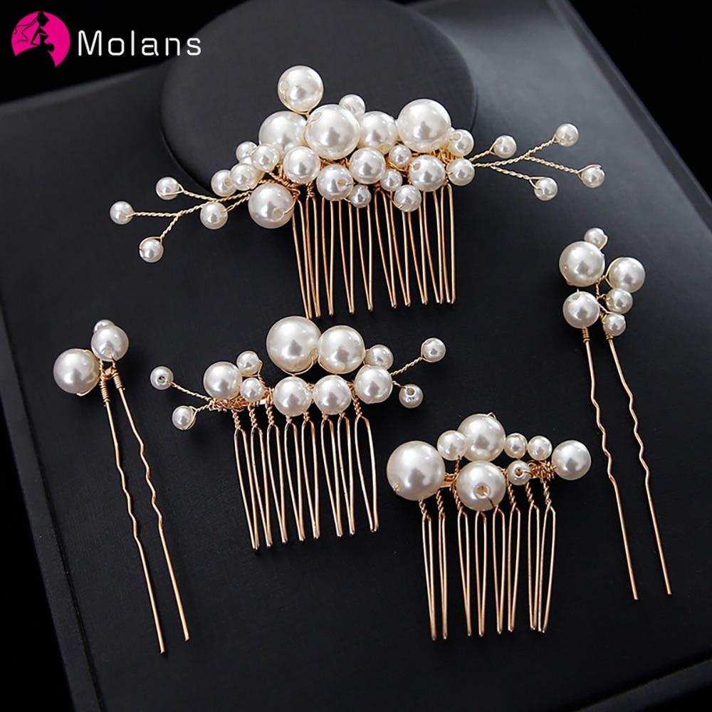 Molans 2021 Pearl Wedding Hair Combs Hair Accessories for Bridal Headpiece Hairpin Women Bride Hair ornaments Headwear Jewelry