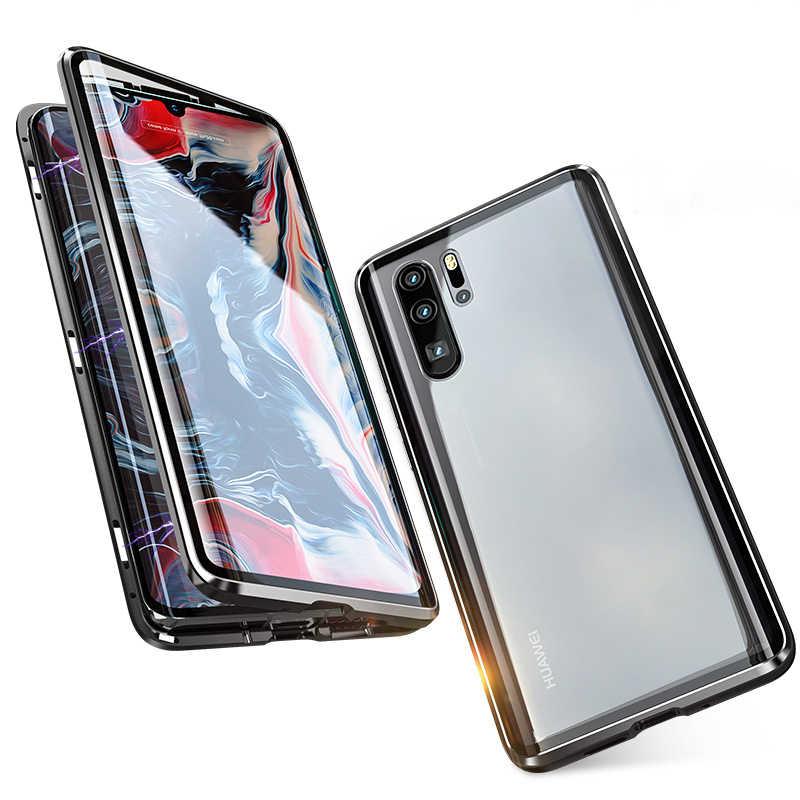 יוקרה מגנטי מקרה עבור Huawei P30 פרו P40 לייט P20 Mate 20 פרו P 30 40 טלפון 360 מלא גוף מגן כפול צדדי זכוכית כיסוי