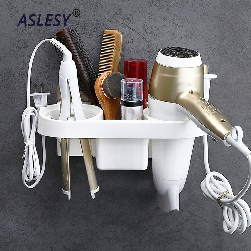 Multifunction Bathroom Storage Hair Dryer Holder Shower Organizer Self-adhesive Wall Mounted Plastic Shelf Shampoo Straightener