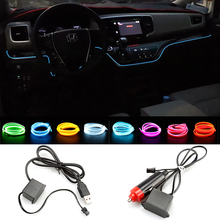 Car Universal Lighting LED Interior Ambient Light Strip EL Wire Rope Tube Line Decorative Lights 12V USB Cigarette Drive