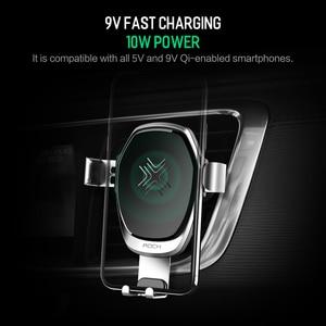 Image 2 - ROCK araç montaj Qi kablosuz araç şarj için iPhone X 8 artı hızlı kablosuz şarj pedi держатель для телефона