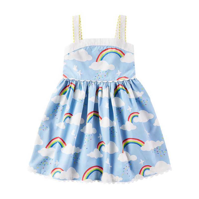 Little Maven Dress 2020 Girls Sleeveless Dress Rainbow Pattern Baby Summer Party Dresses Toddler Clothing Animal Princess Dress
