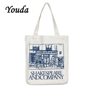 цены Youda Simple Ladies Canvas Bag Casual Large Capacity Printing Handbag Fashion Shoulder Bags Recycling Shopping Tote Pouch