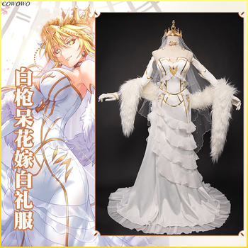 Anime! Fate/Grand Order Altria Pendragon Saber Flower Wedding White Dress Gorgeous Elegant Uniform Cosplay Costume Free Shipping 1