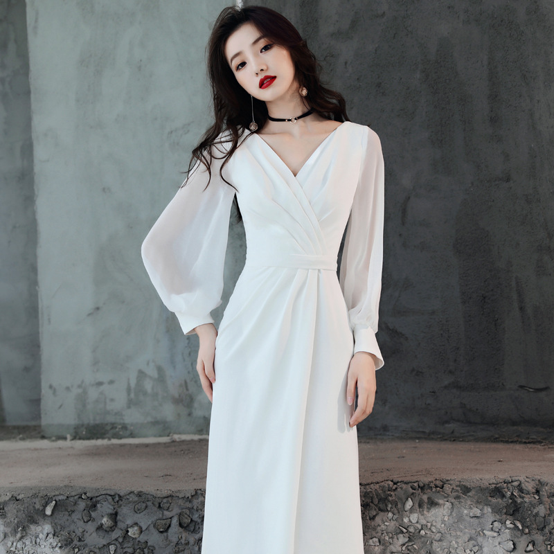 Annual General Meeting Formal Dress Long 2019 New Style Long Sleeve Nobility Elegant White Dress Debutante Banquet Host Late For