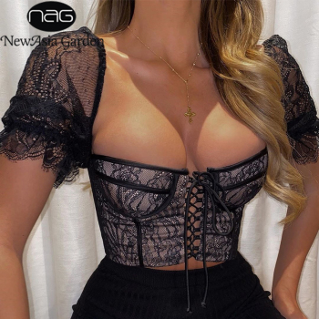 цена на NewAsia Embroidery Corset See Through Lace Sexy Blouse Women Short Sleeve Chest Double Layers Blouses With Underwire Crop Top