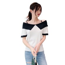 Pullover T-Shirt Sweet Casual Womens Slash Neck Color Block Short Sleeve Female Fashion Knitted Beading