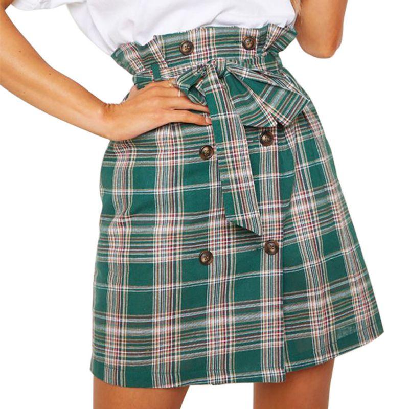 2020 Skirts SpringEngland Style High Waist Belt  Wild Plaid Print Retro Skirt Women's Autumn Winter A-Line Mini Skirts