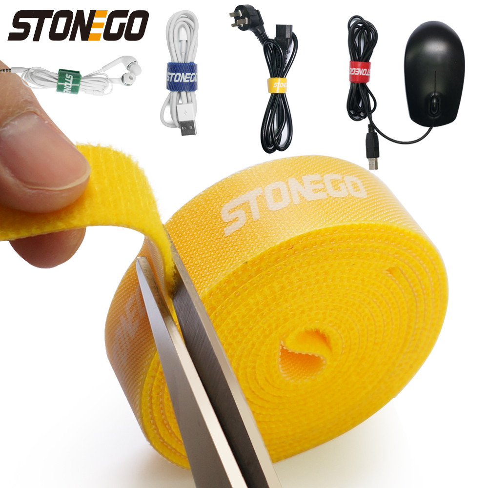 STONEGO USB Cable Winder Cable Organizer Ties Mouse Wire Earphone Holder HDMI Cord Free Cut Management Phone Hoop Tape Protector