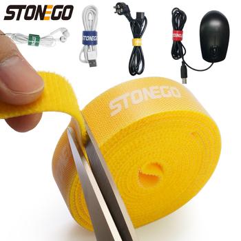 STONEGO USB oplot na kable Organizer do kabli opaski na mysz uchwyt na przewód słuchawkowy przewód HDMI darmowe cięcie zarządzanie telefon Hoop taśma Protector tanie i dobre opinie CN (pochodzenie) Plastikowe 1 5cm 100cm