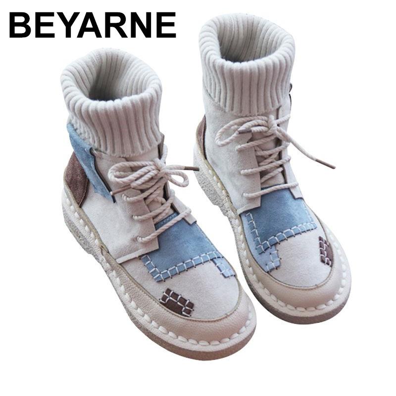 BEYARNEwomen's bottomed flat boots, soft bottom comfortable woollen line Martin boots,handmade Institute women's bootsE893