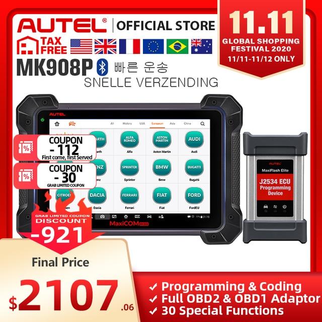 MaxiCOM MK908P OBD2 MS908P Car Automotive Ferramenta de Diagnóstico Scanner Autel Maxisys Programador ECU Codificação programação J2534 PK Elite