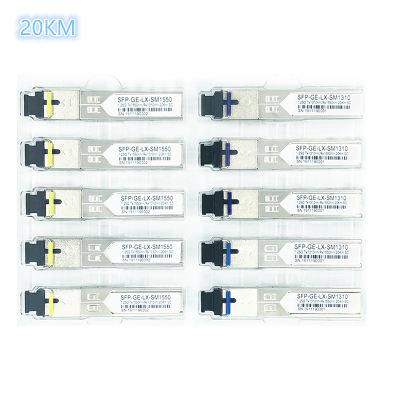 SC SFP Fiber Optic Module 1.25G SC 20KM 1310/1550nm Single Fiber SFP Optical Module Transceiver FOR ONU OLT5 Pairs Compatibility