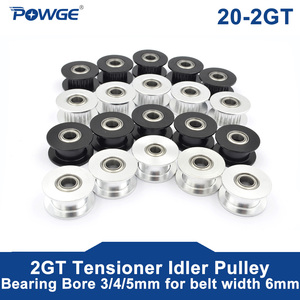 POWGE 5pcs 20 Teeth 2GT 2M synchronous Wheel Idler Pulley Bore 3/4/5mm with Bearing for GT2 Timing belt Width 6MM 20Teeth 20T(China)