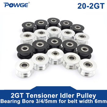 цена на POWGE 5pcs 20 Teeth 2GT 2M synchronous Wheel Idler Pulley Bore 3/4/5mm with Bearing for GT2 Timing belt Width 6MM 20Teeth 20T
