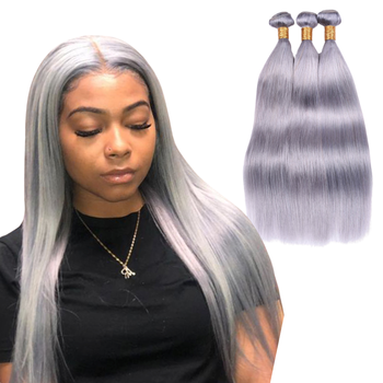 Sapphire Silver Grey Human Hair Bundles Brazilian Weave 100% Honey Blonde Straight Extensions Remy