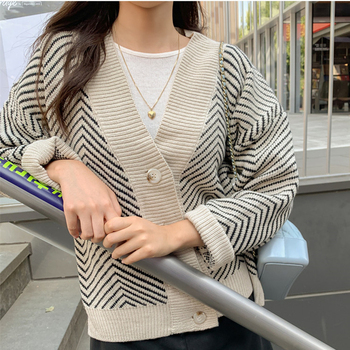Ailegogo 2020 Women's Knitwear Autumn Winter  Striped Casual V-Neck Cardigans Button Cardigan Loose Korean Sweaters SWC3033 2