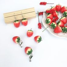 Cute Big Red Color Resin Strawberry Drop Hook Earrings For Women Fashion Jewelry H8WF
