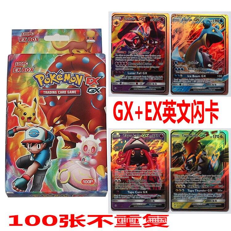 100 шт GX + EX сияющая Такара TOMY карточная игра битва карт 100 шт торговые карты игра детская игрушка без повторения
