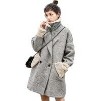 Winter New Women Wool blends Coat Warm Lambswool Spliced Double Breasted Woolen Coats Female Fashion Striped Overcoat Plus size