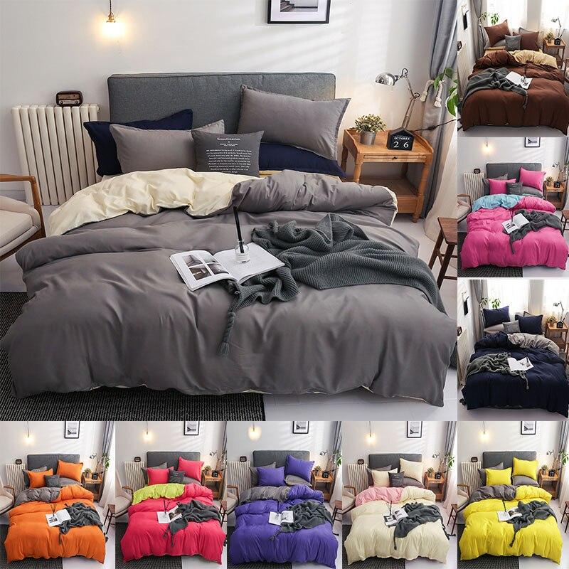 طقم سرير البوليستر الصلبة 4 قطعة ملاءات حاف الغطاء المخدة بسيطة البياضات سرير مزدوج الملكة حجم مجموعة ملايات فراش أغطية السرير