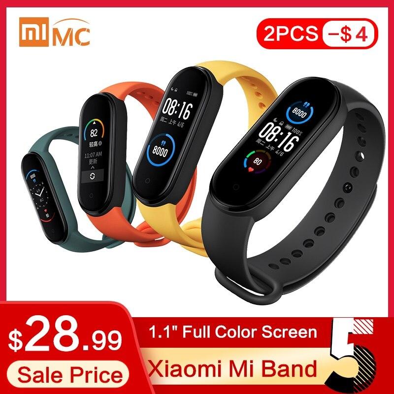 Оригинальный Смарт браслет xiaomi mi Band 5, 4 цвета, экран AMOLED 1,1 дюйма, фитнес трекер для измерения сердечного ритма, Bluetooth 5,0, водонепроницаемый mi Band 5|Смарт-браслеты|   | АлиЭкспресс