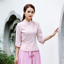 Улучшенный Qipao Тан костюм топы с короткими рукавами хлопок лен Стенд воротник Весна Лето Осень Топы розовый