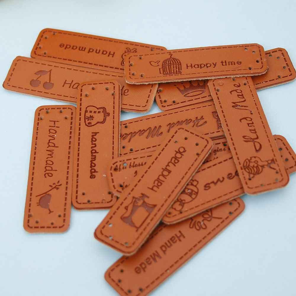12 stuks Handgemaakte Labels Brief PU Lederen Tags DIY Jeans Tassen Schoenen Naaien Accessoires Hand Made Etiketten voor Kleding