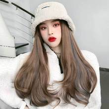 2020 new wig hat extension Synthetic Hat wig extension Hat wig for women fashion wig hat extension wonder winter wig