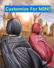 Funda de asiento de coche para BMW MINI Cooper R55R56R57R60 F54F55F56F57F60, Protector marrón personalizado, accesorios de Interior de coche