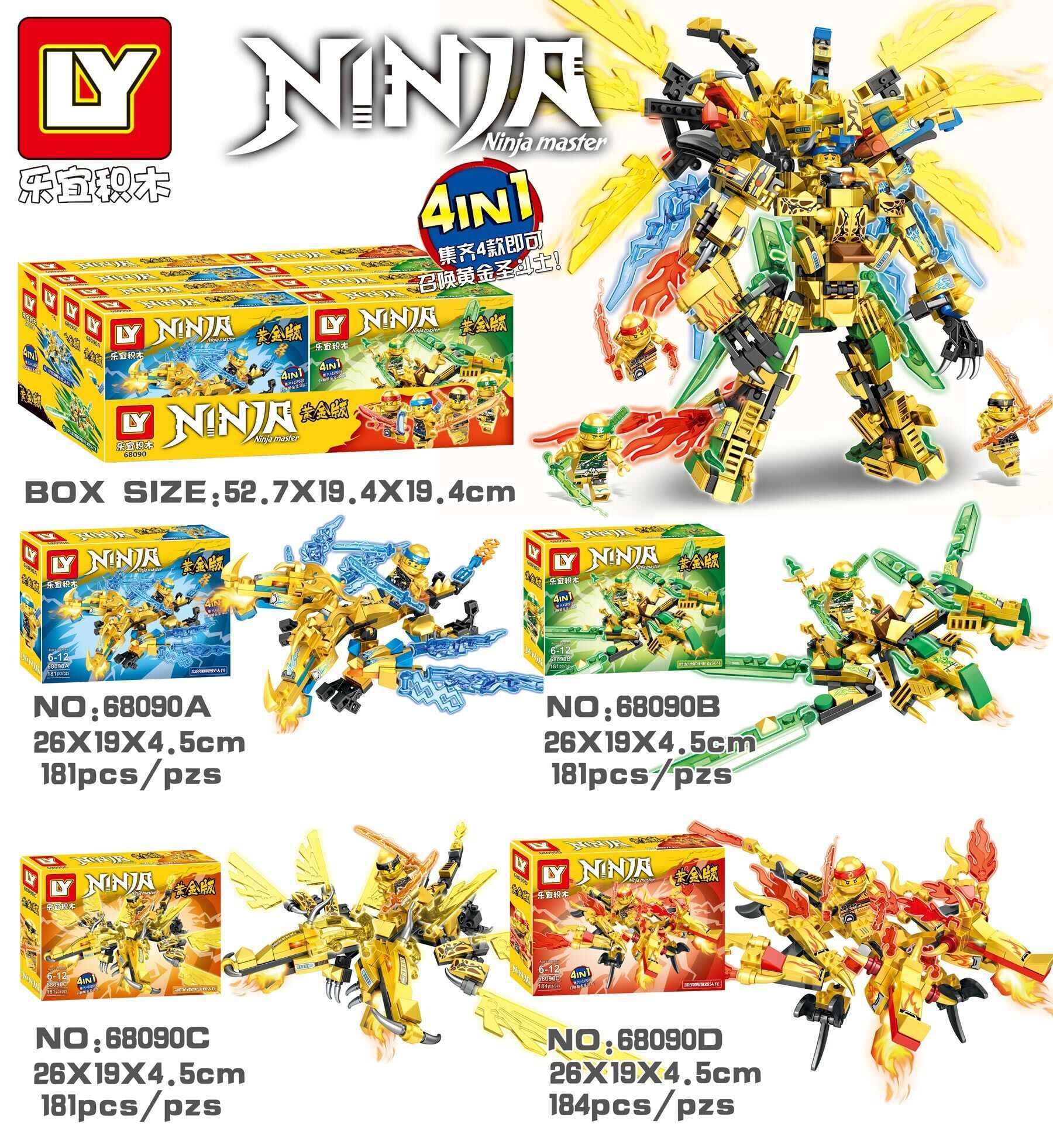 ¡Nuevo! Bloques de construcción 727 Uds 4in1 Ninja Golden Mecha, juguetes educativos para niños