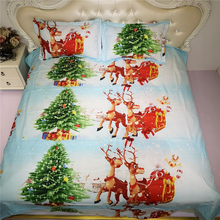 Santa Clause Gifts Elk  Kids Bedcloth CN Twin Comforter Quilt Cover Bed Linen Set Christmas Decoration Bedding Duvet Cover Set elk santa clause pullover christmas hoodie