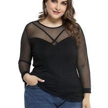 T-shirt noir à manches longues pour femmes, haut élégant en maille, Streetwear mujer D30